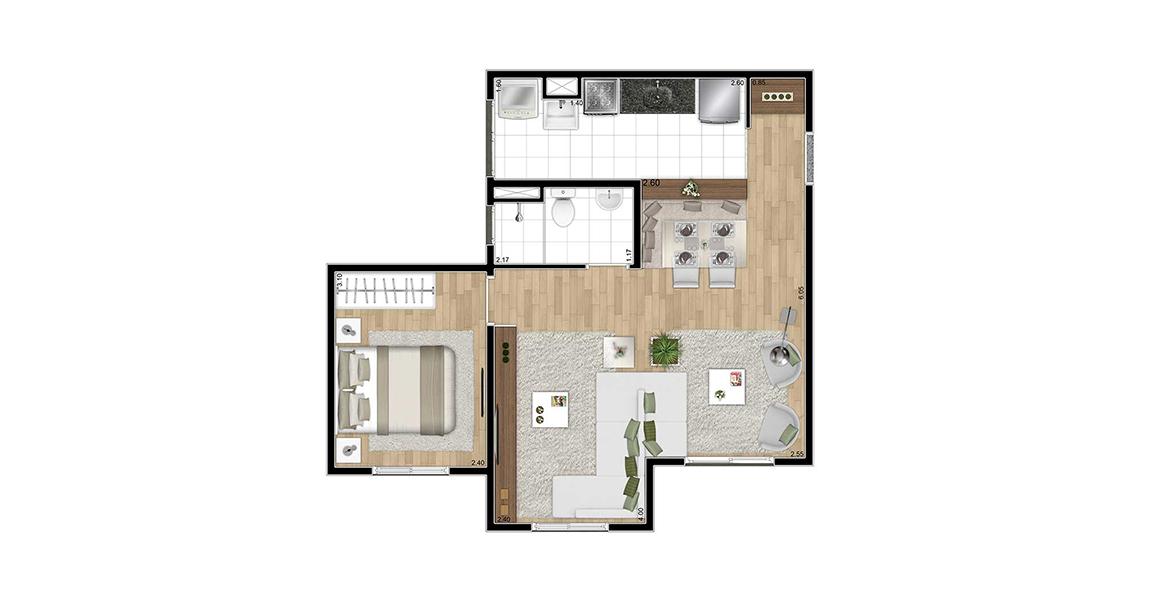 43 M² - 1 DORM. Apartamento em Itaquera com cozinha americana e uma ótima sala ampliada com possibilidade de adega ao lado da porta de entrada. Possui banheiro com iluminação e ventilação natural.
