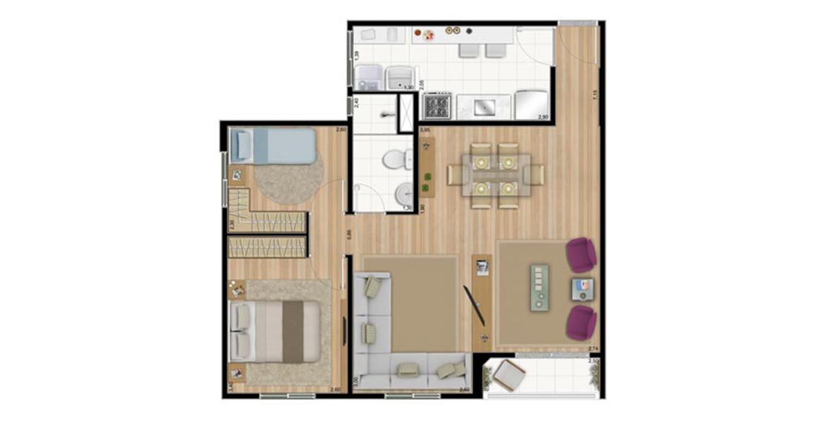 63 M² - 2 DORMS. Apartamento no Sapopemba com sala ampliada, criando um apto muito confortável para receber, com apoio da varanda e de banheiro com função de lavabo para suas visitas.