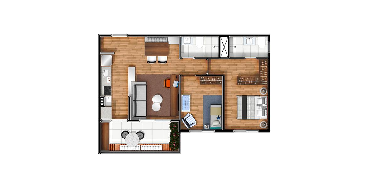 61 M² - 2 DORMS. Apartamento no Morumbi com 2 dormitórios tem uma boa suíte com closet e banheiro com ventilação natural. Sala conta com apoio da varanda, sua extensão natural.