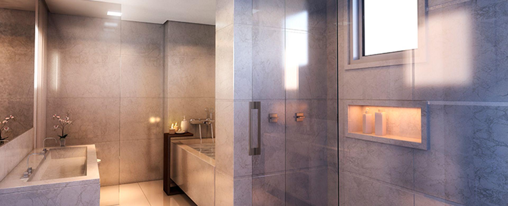 BANHO MASTER do apto de 202 m² com 2 amplas janelas, cuba dupla e banheira do 250 Pirapora