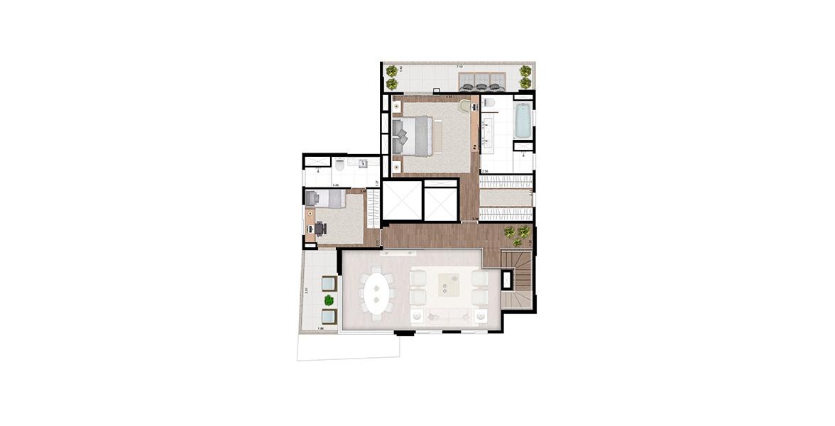 202 M² - 3 SUÍTES. Duplex superior com 2 suítes, tem excelente suíte master complementada por terraço íntimo com mais de 7 metros de frente, closet e sala de banho.