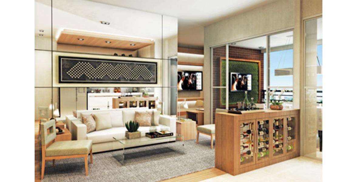 LIVING AMPLIADO do apto de 60 m² com cozinha integrada e reservada Sala de TV do UpStyle Campo Belo