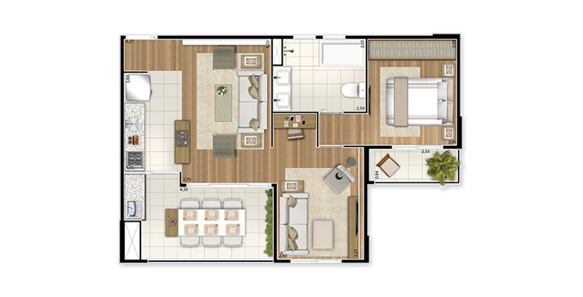 Planta do UpStyle Campo Belo. 60 M² - 1 SUÍTE. Apartamento no Campo Belo com sala ampliada com reservada Sala de TV e banheiro estendido. Terraço integra-se à sala por amplas portas de vidro, melhorando a circulação.