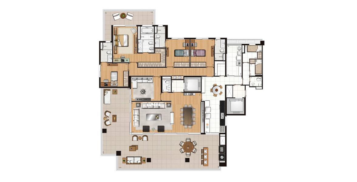 332 M² - 4 SUÍTES. Apartamento de alto padrão em Pinheiros com excelente terraço gourmet com churrasqueira integrado em L com o living, proporcionando maior entrada de luz dentro do apto. Todas suítes são generosas com passagem íntima para a cozinha.
