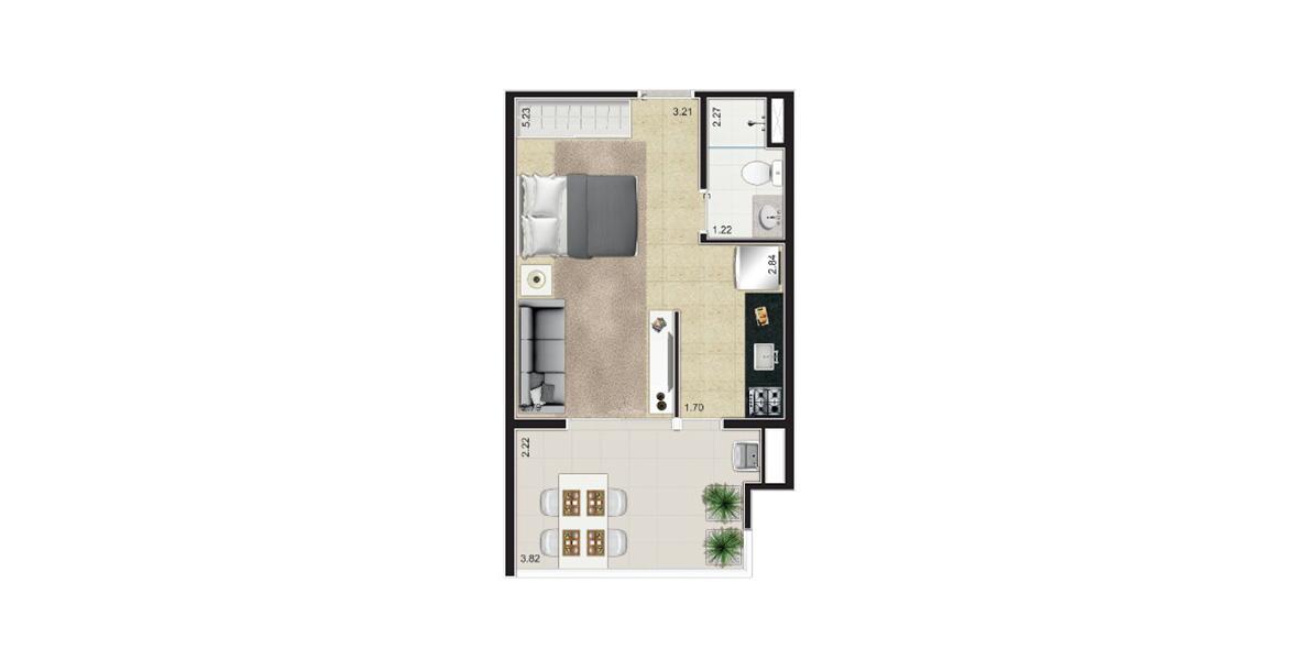 35 M² - STUDIO. Apartamento em Moema com varanda muito confortável e agradável, acumula função de Sala de Estar e Jantar, principalmente ao receber os amigos.