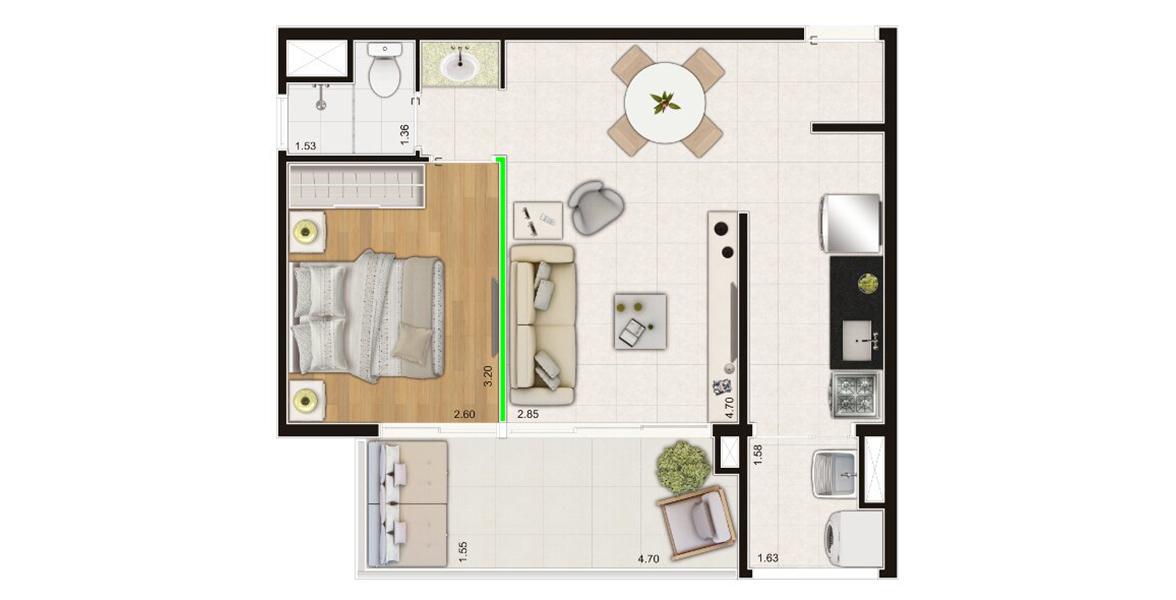 47 M² - 1 DORM. Apartamento no Campo Belo com 1 dormitório, infraestrutra para ar-condicionado no dormitório e na sala, além de ótima varanda em L com 4,7 metros de frente.