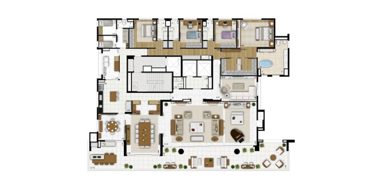 485 M² - 4 SUÍTES. Apartamento no Campo Belo com suíte master com sala de banho com banheira. Ao lado do terraço gourmet, há uma sala de almoço que na versão anterior estava integrado à cozinha.