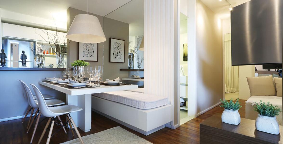 LIVING do apto de 59 m² com apoio de um banheiro com função de lavabo do Autêntico Mooca