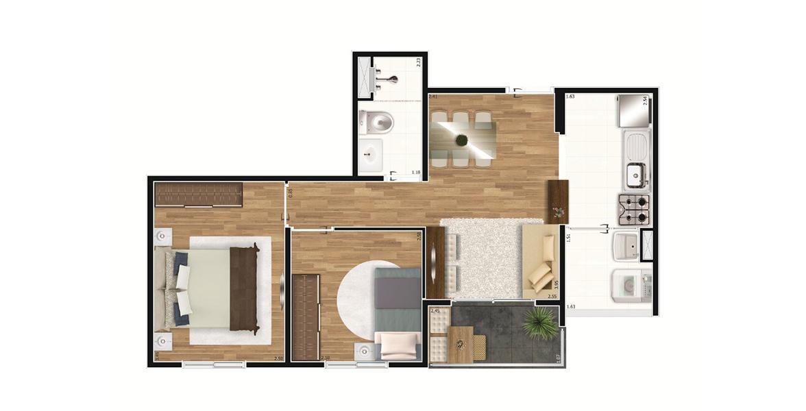 Planta do Autêntico Mooca. 45 M² - 2 DORMS. Apartamento na Mooca com 2 dormitórios e cozinha americana. Para casais com filhos é a opção com melhor preço no Autêntico Mooca.