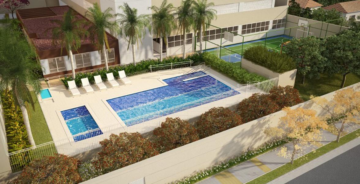 LAZER com área das piscinas e da quadra ao lado da Rua dos Campineiros.