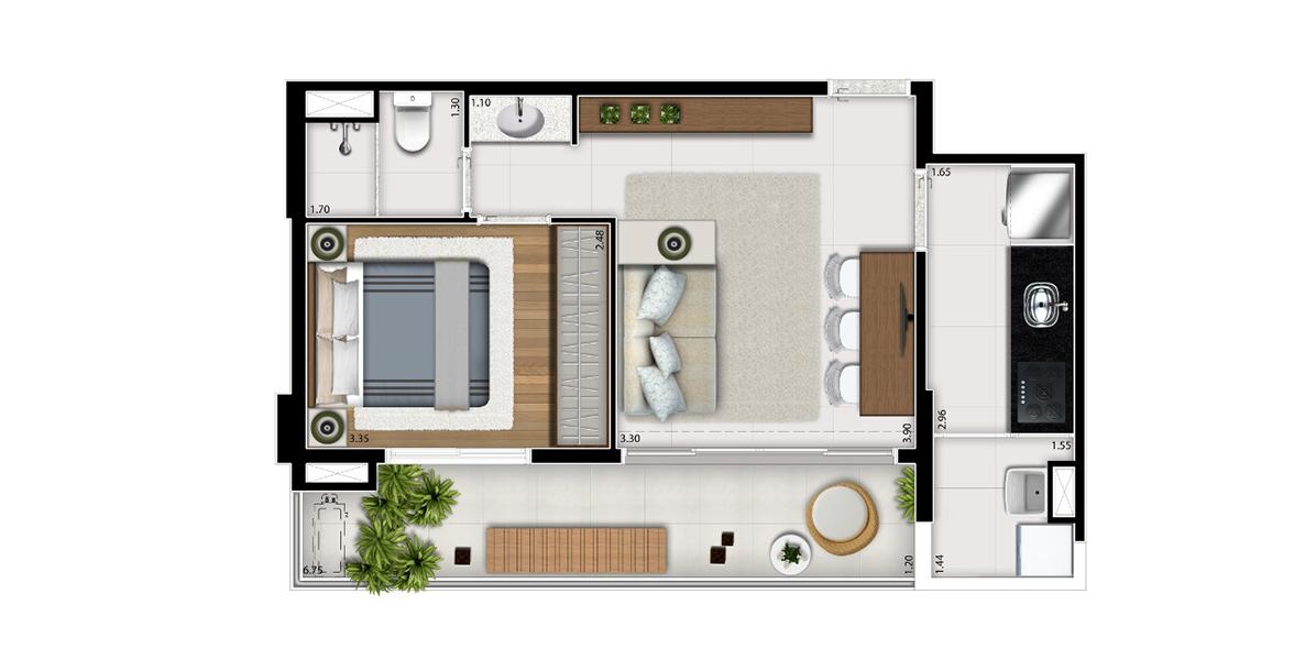 Planta do BC Bela Cintra. 48 M² - 1 DORM. Apartamento com cozinha e dormitório fechado. Sala tem excelente integração com a varanda, devido às amplas portas de vidro de ponta a ponta.