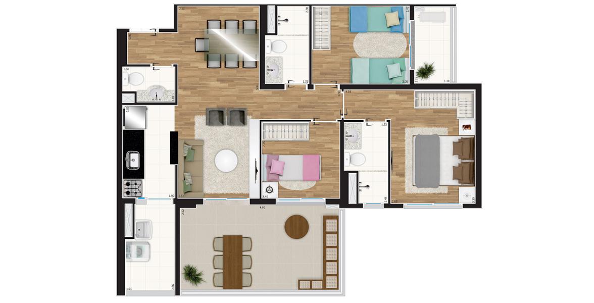 Planta do Bio Tatuapé. 86 M² - 3 DORMS., SENDO 1 SUÍTE. Apartamento no Tatuapé com 3 dormitórios, sendo uma ampla suíte. O 2º dormitório conta com terraço privativo e o 3º dormitório é reversível, podendo ampliar a sala.
