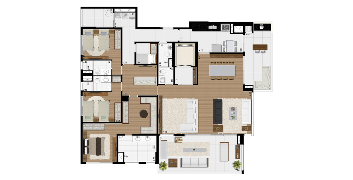 Planta do Blue Note Brooklin. 225 M² - 3 SUÍTES. Apartamento no Brooklin com planta semelhante à anterior de 3 suítes, com quarto na área de serviço para seu empregado, uma parte do apto que já contava com banheiro e acesso de serviço.