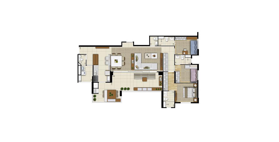 132 M² - 3 SUÍTES. Apartamento em Santana com living e cozinha ampliada. Tem generosa varanda gourmet com churrasqueira, integrada à sala e à cozinha, proporciona uma encantadora vista panorâmica para a Zona Norte de São Paulo.