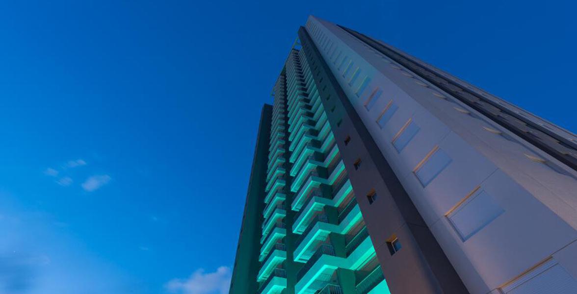 FACHADA da única torre com 26 andares.