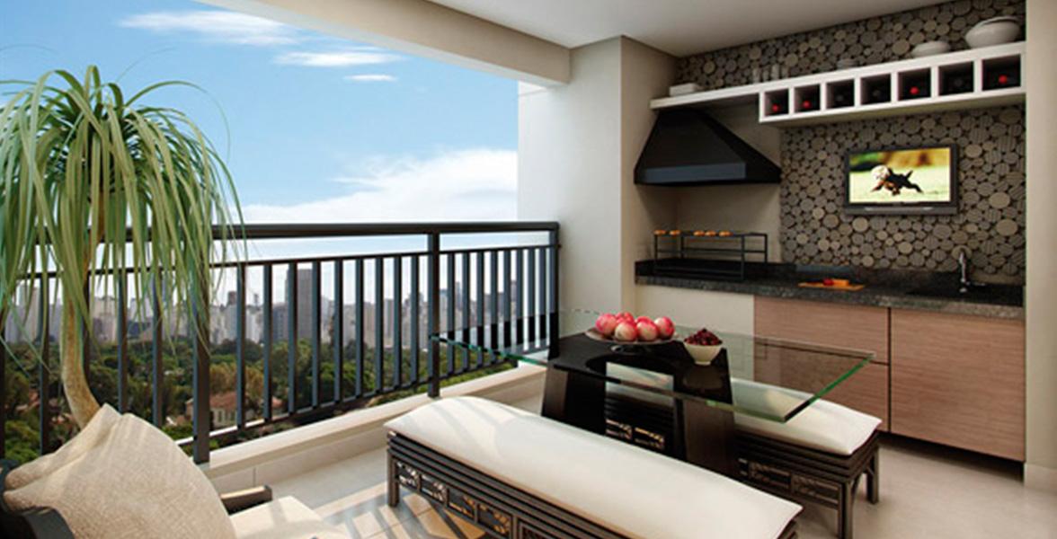 TERRAÇO GOURMET do apto de 95 m² com ótima vista panorâmica.