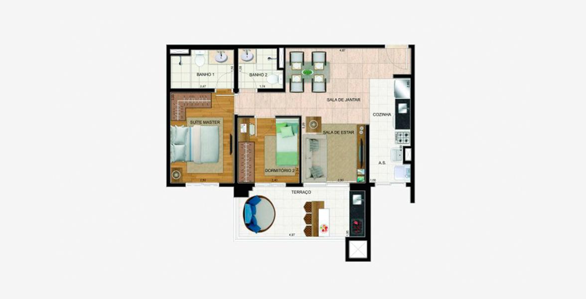 65 M² - 2 DORMS., SENDO 1 SUÍTE. Apartamento em Guarulhos com 2 bons dormitórios e sala com apoio em amplo terraço gourmet em L com opção de churrasqueira.