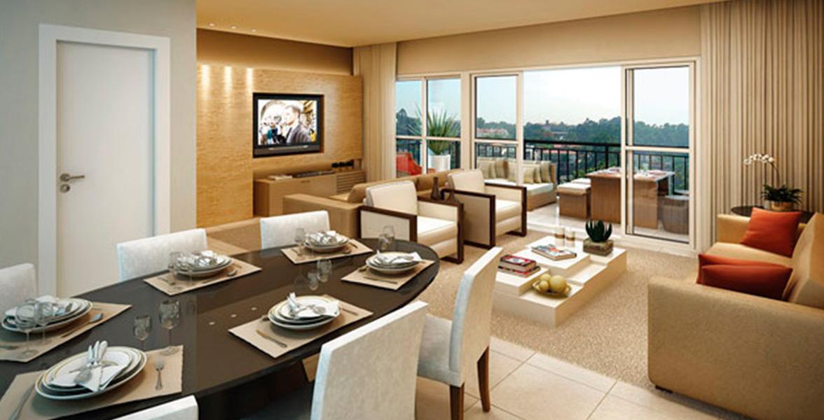 LIVING AMPLIADO do apto de 105 m² com amplas portas de vidro que melhoram a integração com o terraço gourmet e possibilitam maior entrada de luz natural.