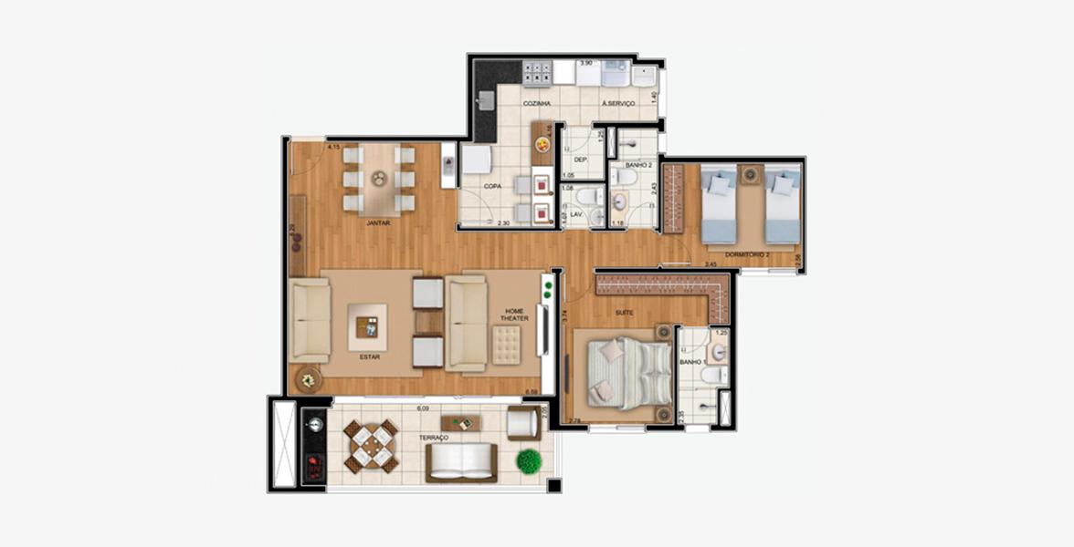 105 M² - 2 DORMS., SENDO 1 SUÍTE. Apartamento no Horto Florestal com 2 dormitórios, sendo uma suíte do casal com ampla área para armário e living ampliado com uma boca de sala de mais de 6 metros, integrado ao terraço gourmet por amplas portas de vidro.
