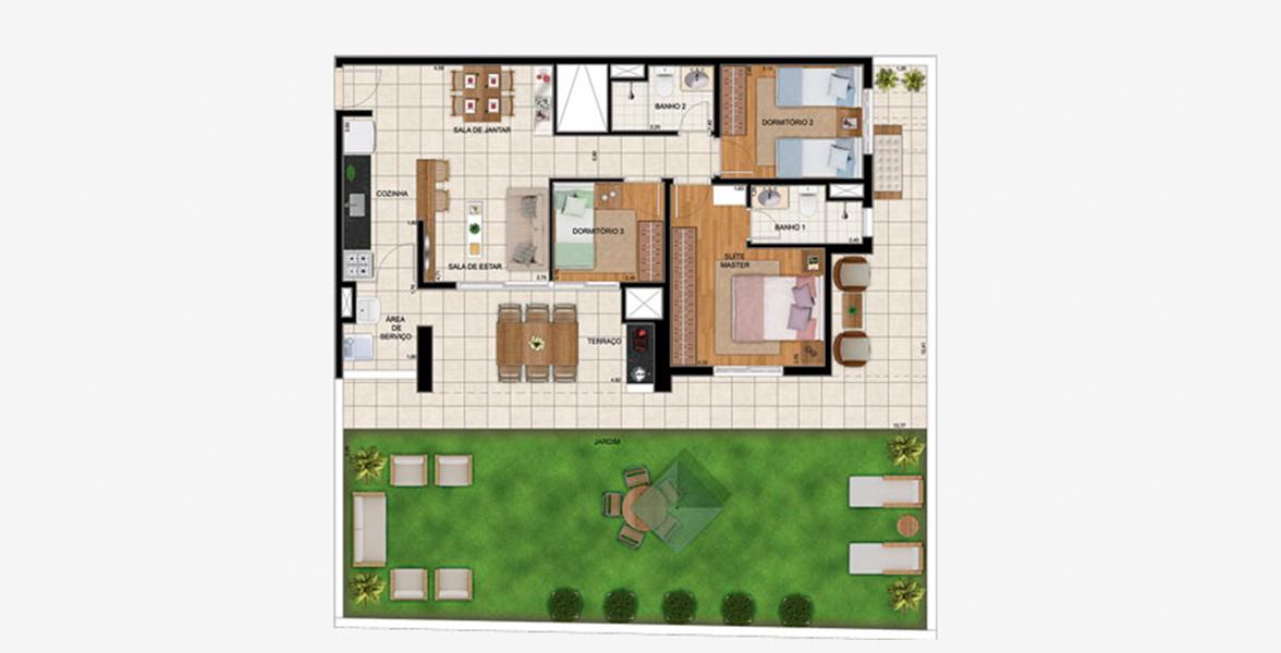 Planta do Vivart Tremembé. floorplan