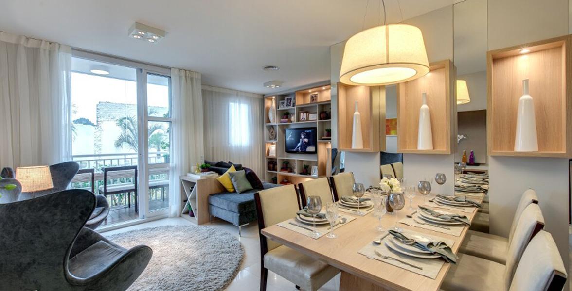 SALA AMPLIADA do apto de 69 m² com confortável espaço para receber bem do Vivaz Vila Prudente