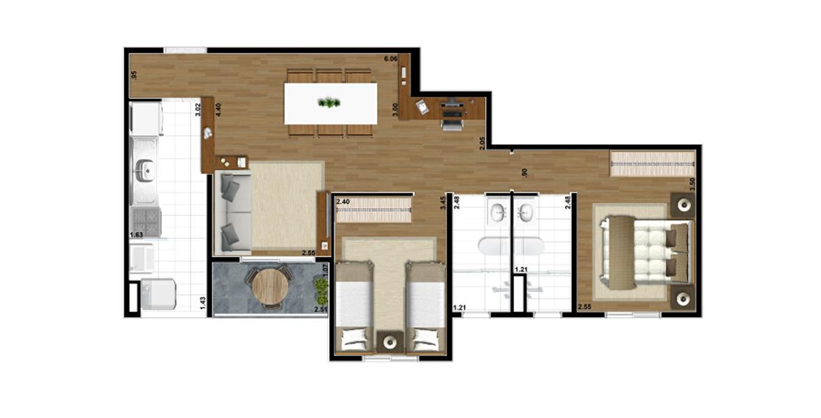 Planta do Vivaz Vila Prudente. 64 M² - 2 DORMS., SENDO 1 SUÍTE. Apartamento na Vila Guilherme com 2 dormitórios e cozinha americana. É o apto com menor preço do Vivaz Vila Prudente para famílias com filhos.