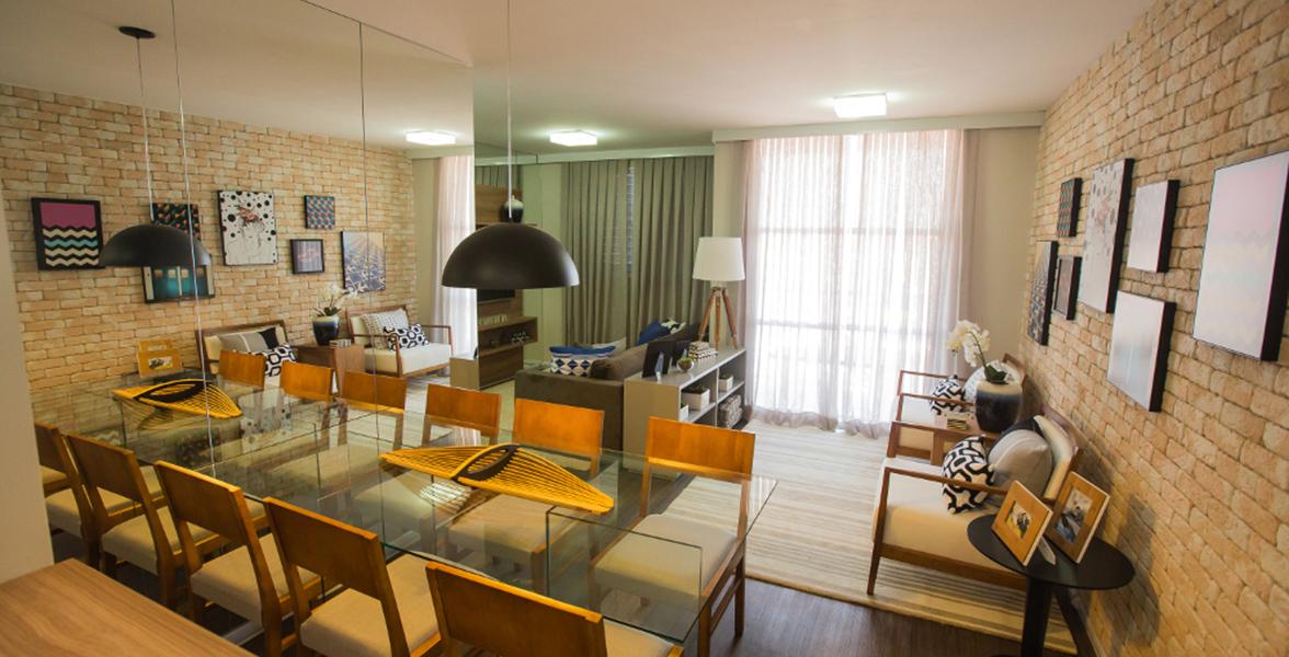 LIVING AMPLIADO do apto de 60 m² com bastante espaço para receber bem.