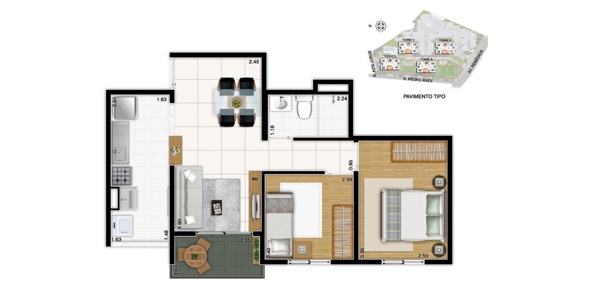 47 M² - 2 DORMS. Apartamento na Vila dos Remédios com 2 dormitórios e cozinha americana. É o apto com menor preço no ClubPark, especial para famílias com até 2 filhos.