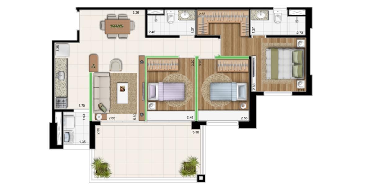 89 M² - 3 DORMS., SENDO 1 SUÍTE. Apartamento no Campo Belo com excelente suíte com closet e amplo banheiro. Os dormitórios podem servir a uma família grande, pois as paredes são removíveis possibilitando total ampliação da sala.