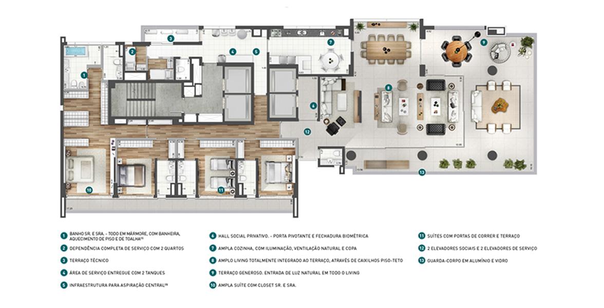 Planta do Design Arte Jardins. 407 M² - 4 SUÍTES. Apartamento nos Jardins com 4 confortáveis suítes para famílias maiores, todas tem portas de correr de acesso ao terraço íntimo. No lado oposto há a excelente área social com 160 m² composta de um living totalmente integrado ao terraço.