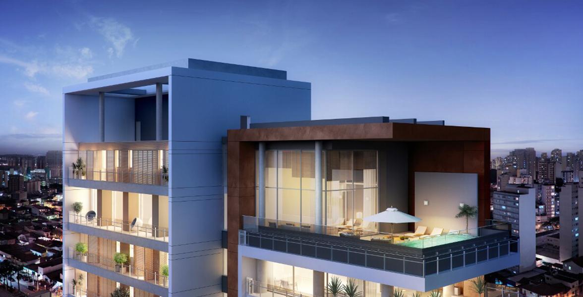 COBERTURA com revestimento de tom avermelhado, traz forte identidade à fachada, encerrando-se na cobertura duplex.