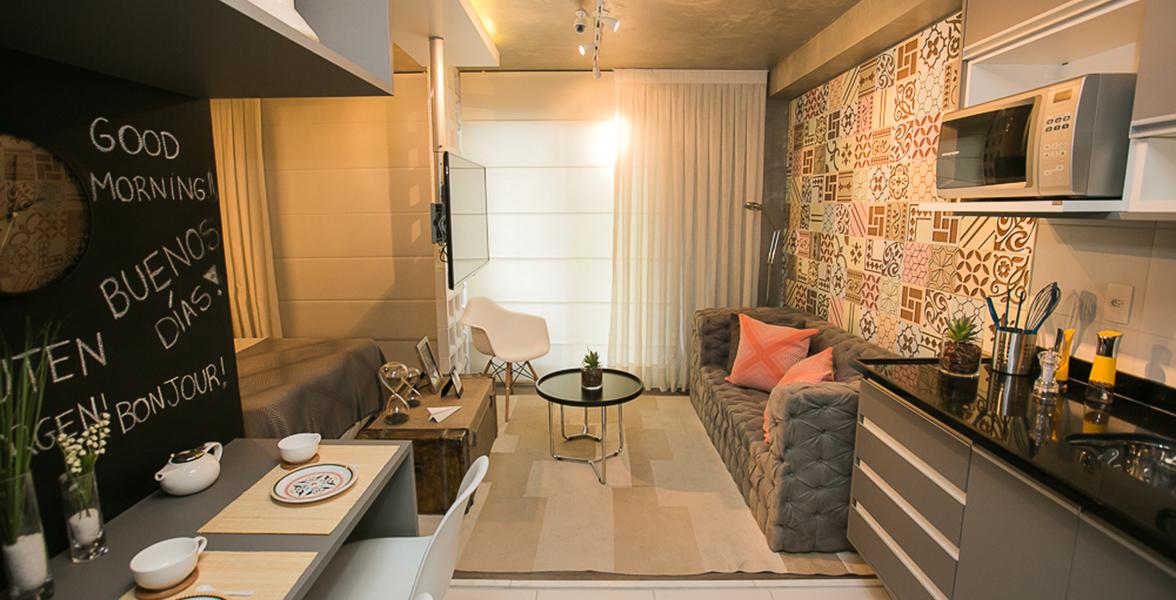 COZINHA do apto de 33 m² com decoração moderna, elaborada por Carlos Rossi, que estará a disposição dos compradores caso queiram um apto totalmente mobiliado, pronto para morar.