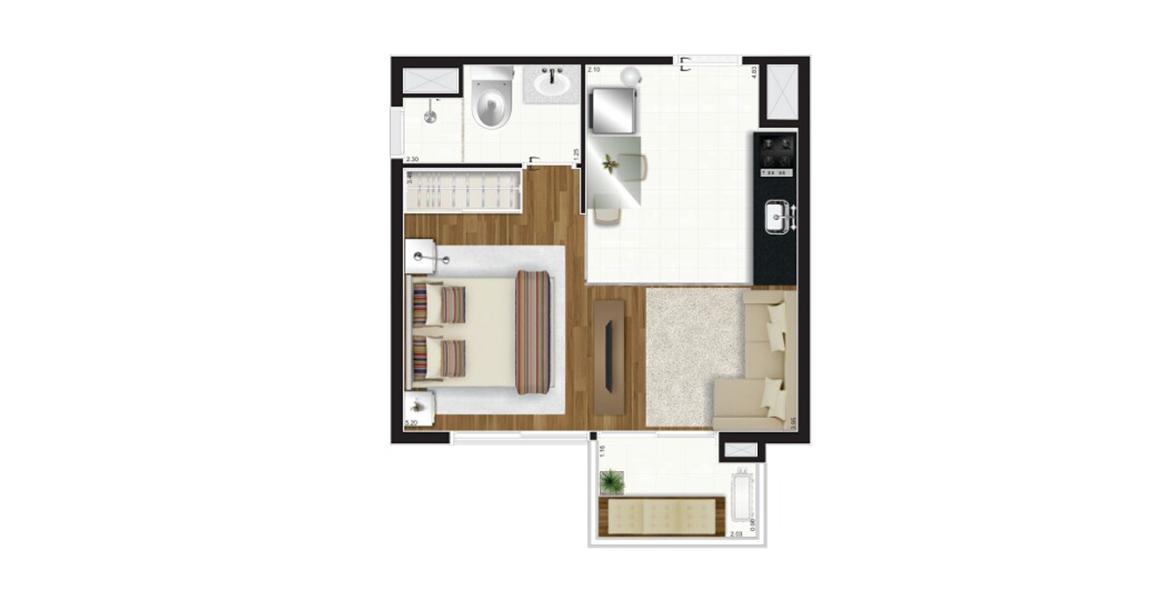 32 M² - STUDIO. Apartamento compacto com ampla varanda em U com guarda-corpo de vidro, tornando-se um apoio muito útil ao receber. Possui infraestrutura para ar-condicionado para seu conforto.