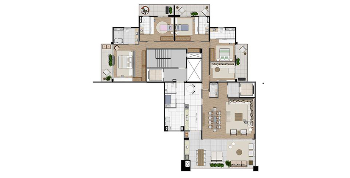 Planta do Doppio by Helbor. floorplan