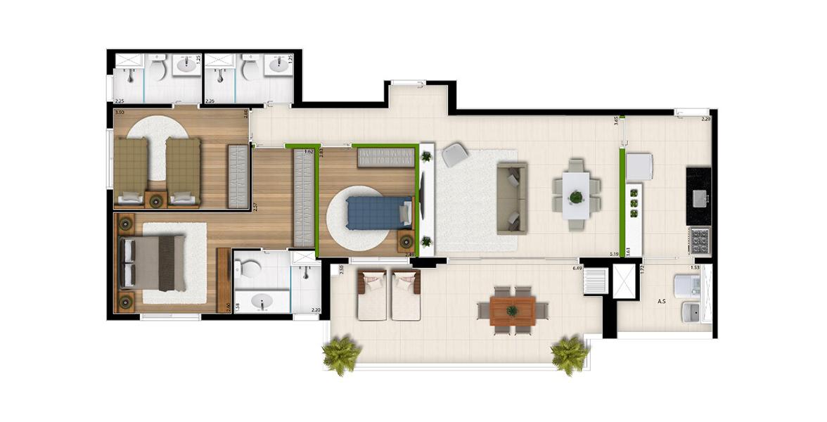 105 M² - 3 DORMS., SENDO 2 SUÍTES. Apartamento no Brooklin com ótima suíte master com infraestrutura para ar-condicionado, closet e banheiro ventilado naturalmente. Tem um excelente terraço gourmet com churrasqueira, uma extensão natural do living.