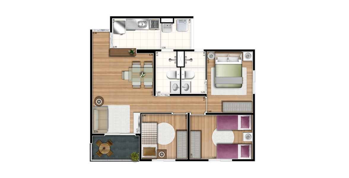 59 M² - 3 DORMS., SENDO 1 SUÍTE. Apartamento para famílias maiores, acomoda casais com até 3 filhos. O casal tem o benefício da suíte com banheiro com ventilação natural. Na sala, há espaço confortável para a mesa de jantar.