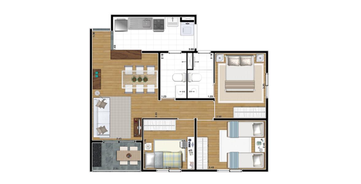 61 M² - 3 DORMS., SENDO 1 SUÍTE. Apartamento no Bom Retiro para famílias maiores, acomoda casais com até 3 filhos. O casal tem o benefício da suíte com banheiro com ventilação natural. Na sala, há espaço confortável para a mesa de jantar.