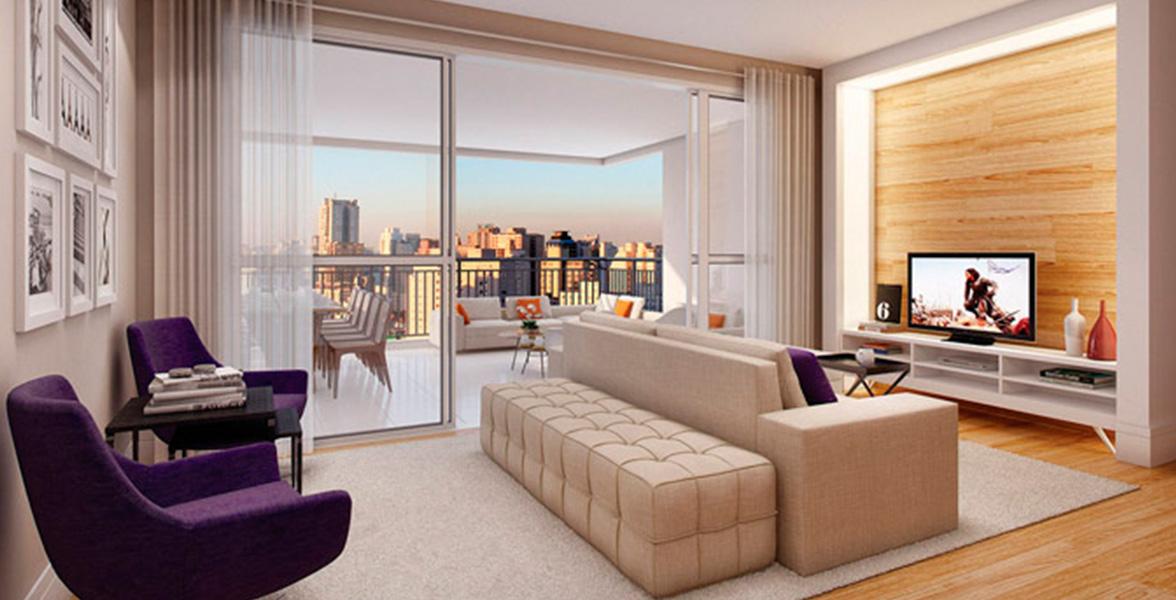 LIVING AMPLIADO com amplas portas de vidro que melhoram a integração com o terraço gourmet e possibilitam maior entrada de luz natural.