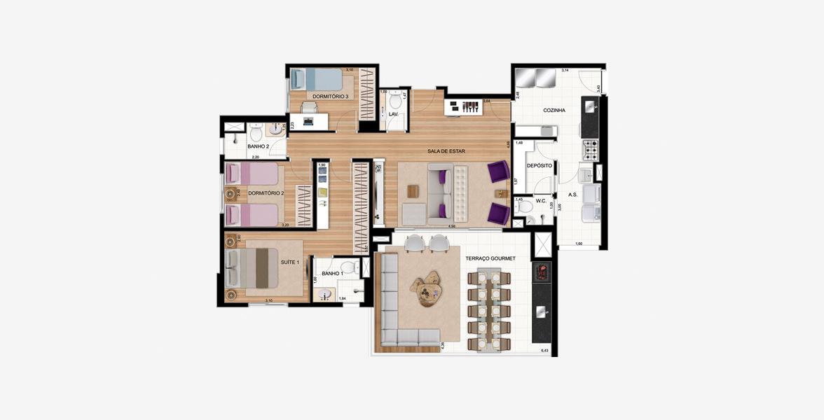 123 M² - 3 DORMS., SENDO 1 SUÍTE. Apartamento no Tatuapé com 3 dormitórios, sendo uma ótima suíte com closet. O living ampliado com mais de 4 metros de boca de sala, conta com lavabo e excelente terraço gourmet em L.