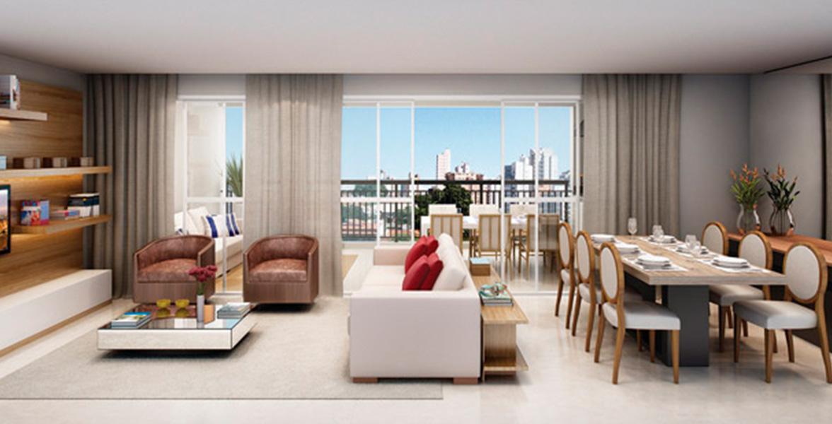 LIVING AMPLIADO com amplos caixilhos e portas de vidro que melhoram a integração com o terraço gourmet e possibilitam maior entrada de luz.