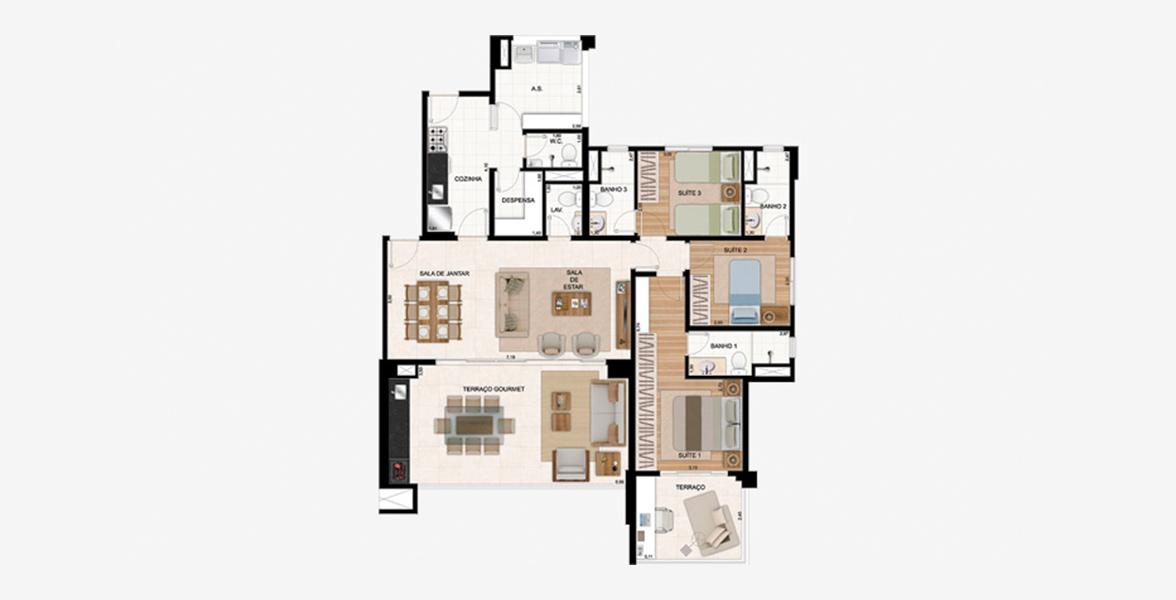 135 M² - 3 DORMS., SENDO 2 SUÍTES. Apartamento no Tatuapé com living ampliado com apoio de lavabo, integrado ao terraço gourmet com opção de churrasqueira. Tem dependência completa, com acesso de serviço.