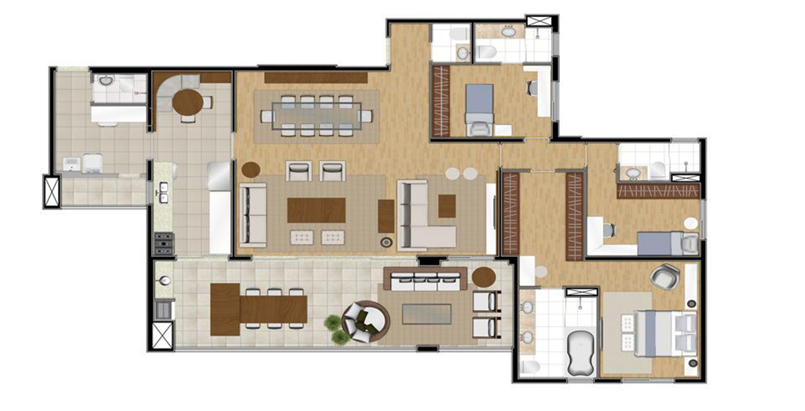 Planta do Helbor Classic Bosque Maia. floorplan
