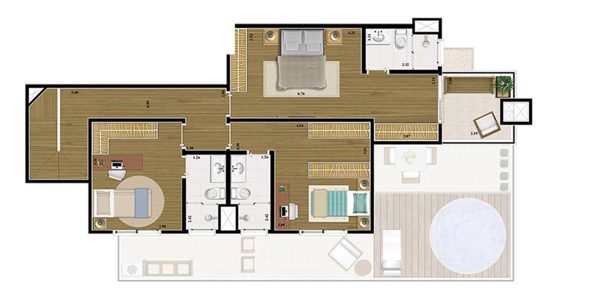 Planta do Helbor New Tatuapé. floorplan