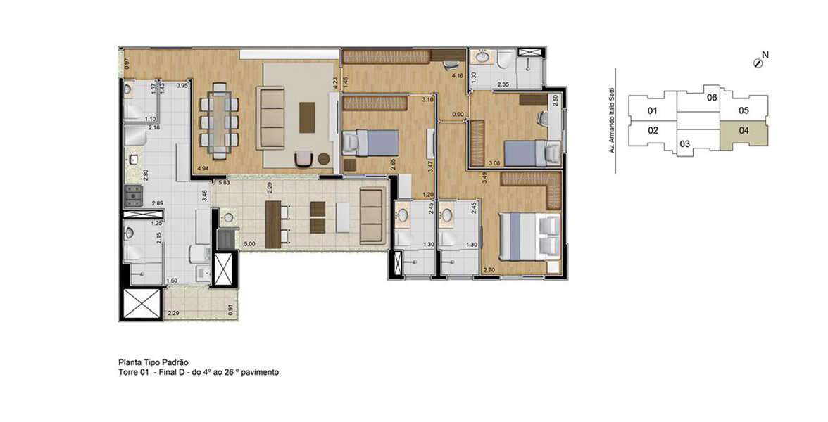 Planta do Ideale. floorplan