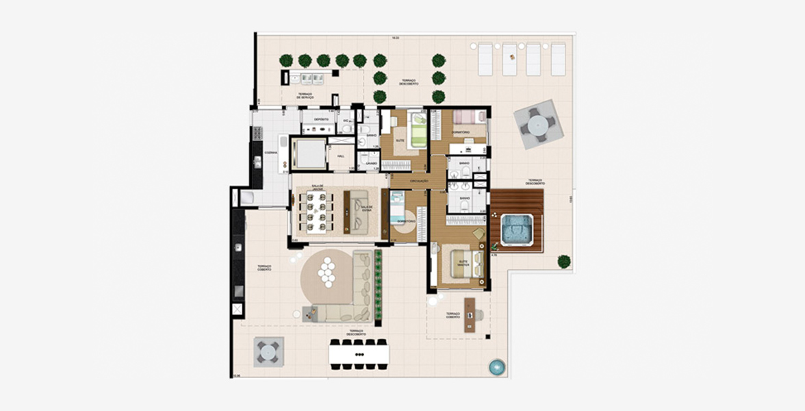 Planta do Le Premier Paraíso. floorplan