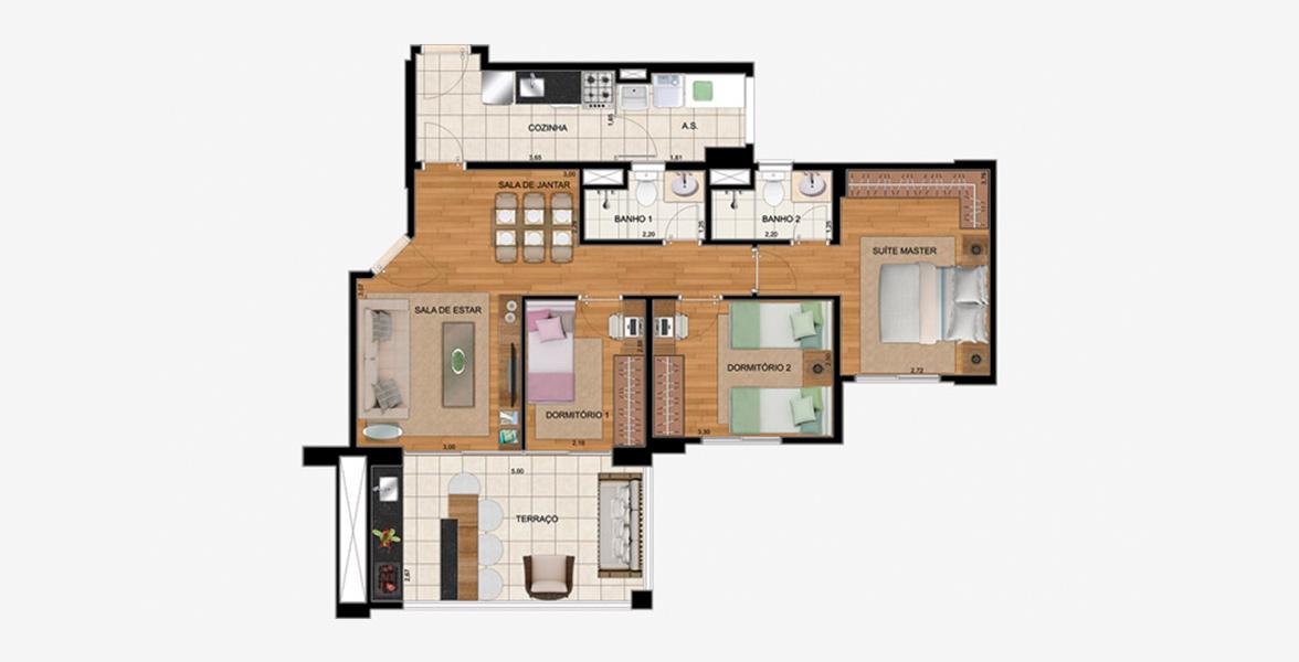 Planta do Massimo Residence Nova Saúde. 84 M² - 3 DORMS., SENDO 1 SUÍTE. Apartamento com 3 dormitórios, sendo um ótima suíte master com ampla área de armário. Tem sala de estar integrada ao amplo terraço gourmet em L com opção de churrasqueira.
