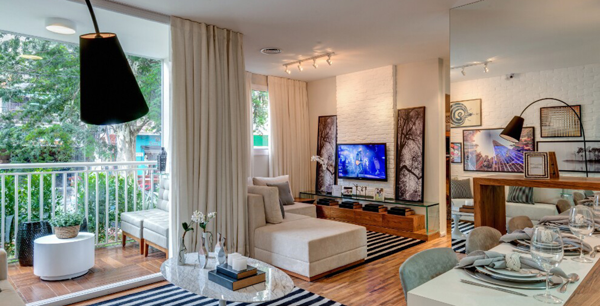 LIVING AMPLIADO do apto de 69 m² com bastante espaço para receber bem do Matriz Freguesia do Ó