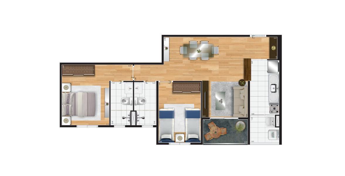 Planta do Matriz Freguesia do Ó. 64 M² - 2 DORMS., SENDO 1 SUÍTE. Apartamento na Freguesia do Ó com 2 dormitórios para famílias com até 2 filhos. Tem os 2 banheiros com ventilação e iluminação natural.