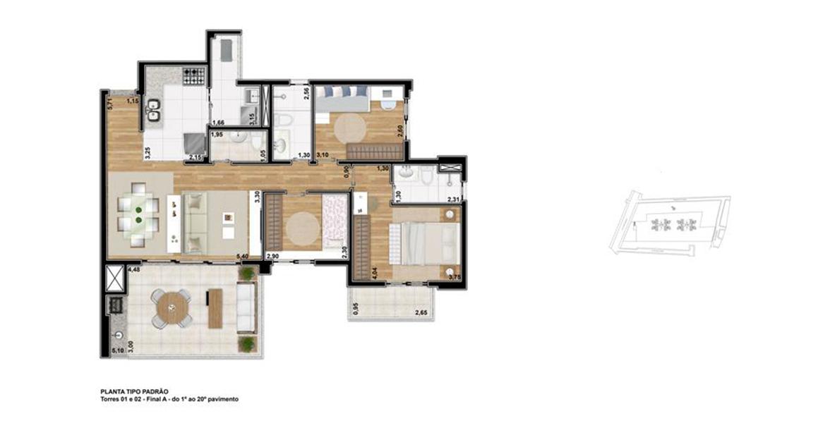 102 M² - 3 DORMS., SENDO 1 SUÍTE. Apartamento no Tatuapé com 3 dormitórios para famílias maiores, com destaque para a ampla suíte do casal com terraço íntimo. O living se integra ao terraço gourmet e à cozinha, com apoio de um lavabo para as visitas.