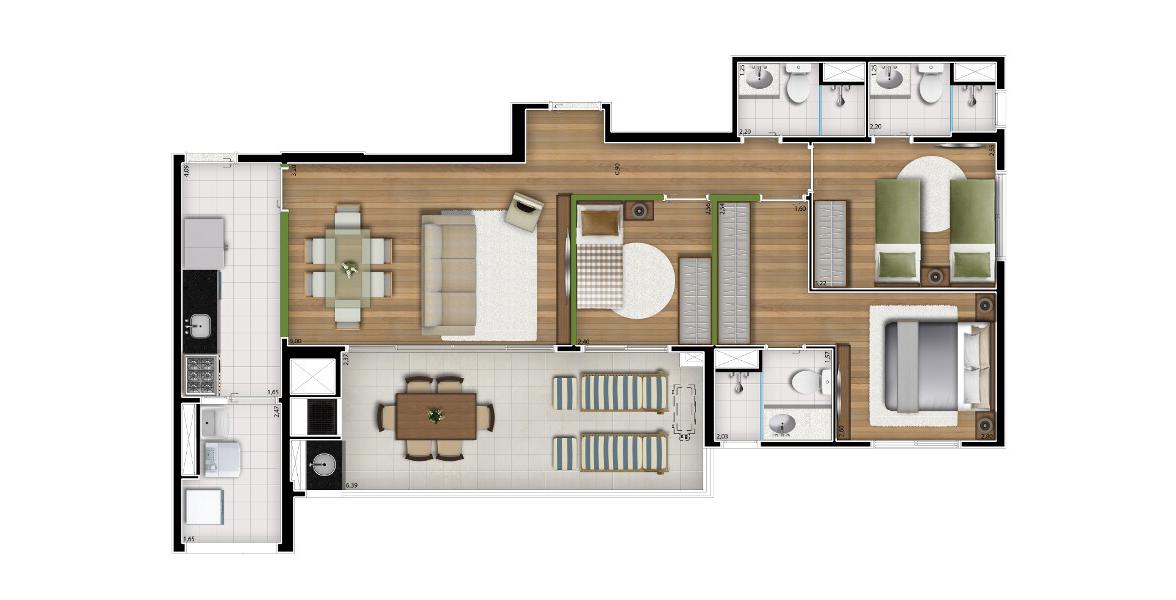 96 M² - 3 DORMS., SENDO 2 SUÍTES. Apartamento na Vila Anastácio com 3 dormitórios e uma excelente varanda gourmet com churrasqueira, que acumula função de Estar em suas maiores recepções. Conta com acesso de serviço e social.